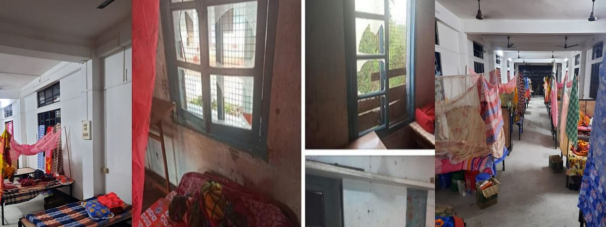 Single washroom that has not been cleaned for four days, broken and dilapidated condition of quarantine centre at Banderdewa raises safety issues