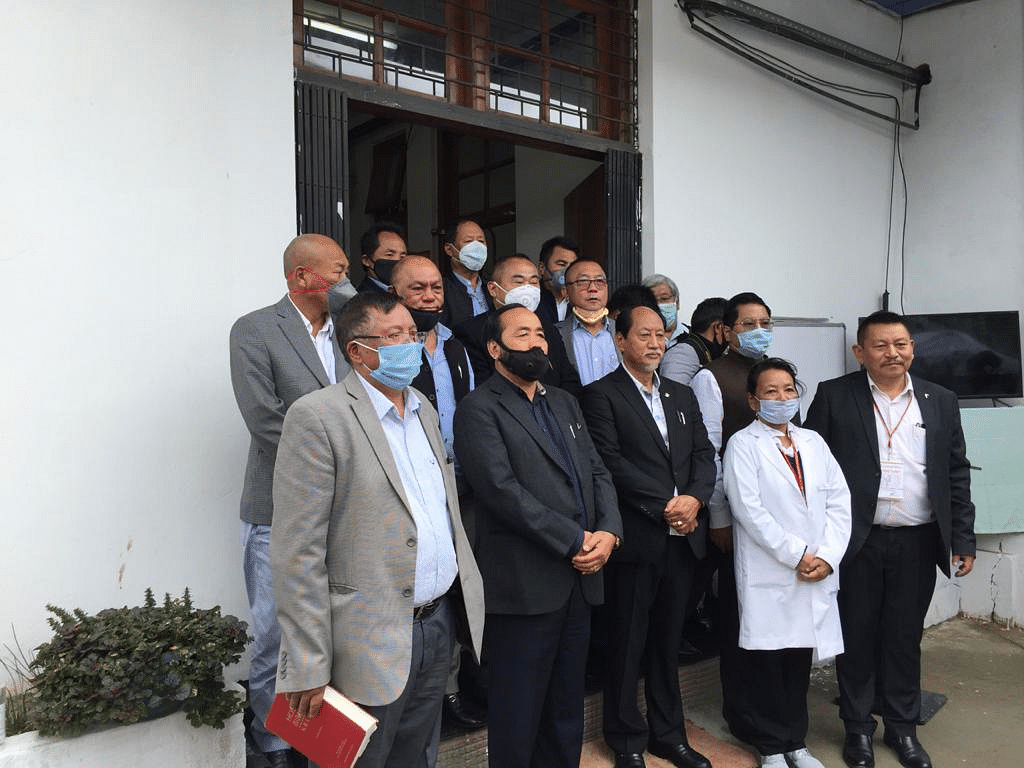 Nagaland chief minister Neiphiu Rio with deputy chief minister Y patton and others during the inauguration of the state referral BSL-3 laboratory on Thursday