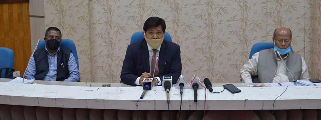 Meghalaya CM Conrad K Sangma during a press briefing on Wednesday