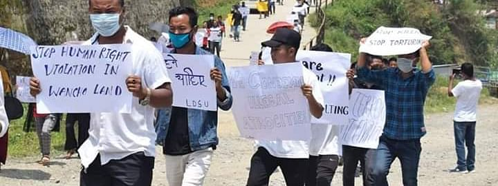 A rally against atrocities by Army being carried out by the Wancho community in Arunachal Pradesh on Monday