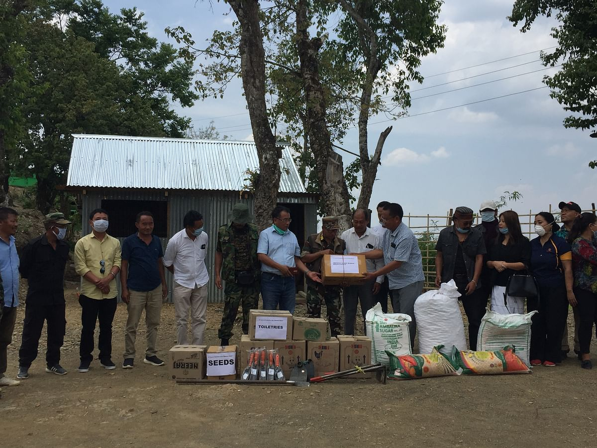 Nagas living in Manipur extended COVID-19 aid to the NSCN-IM cadres stationed at Chandel district on Tuesday