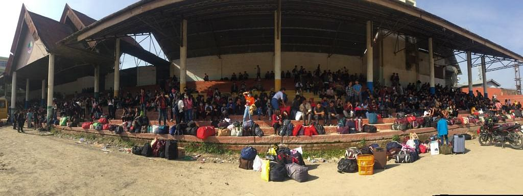 Hundreds of stranded persons in Kohima waiting for their turn to return home in Nagaland on Monday