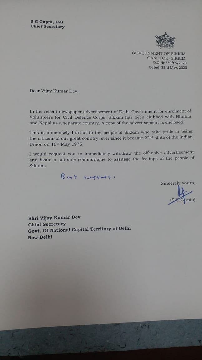 Letter written by chief secretary of Sikkim to his counterpart in Delhi