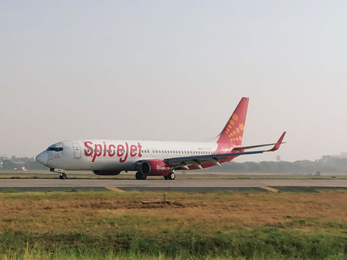 A SpiceJet flight landing at Delhi Airport on Monday