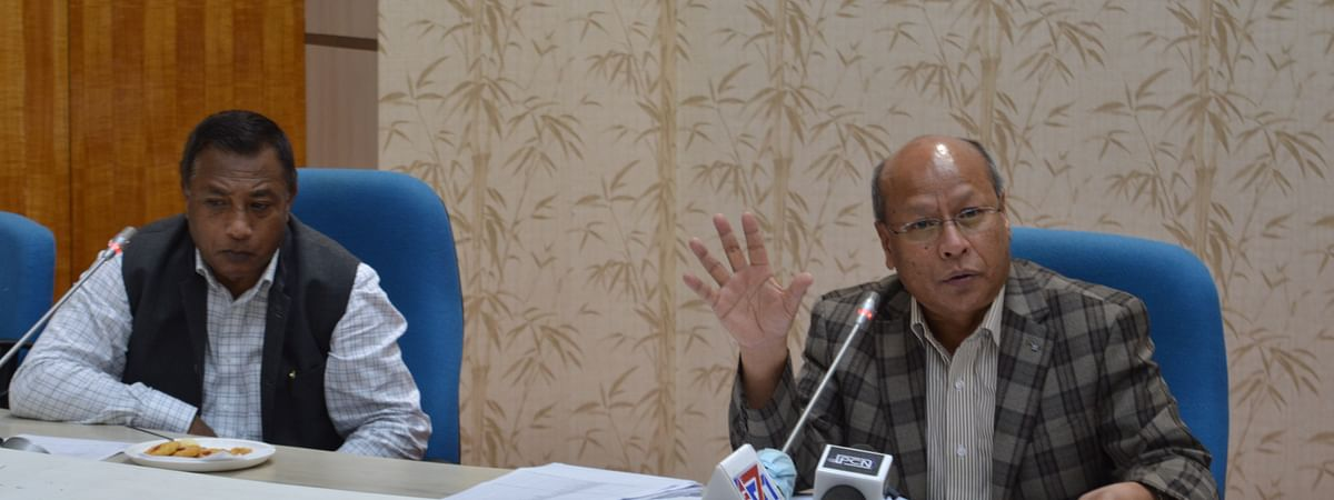 Meghalaya deputy chief minister Prestone Tynsong with health minister AL Hek while briefing the media on Monday