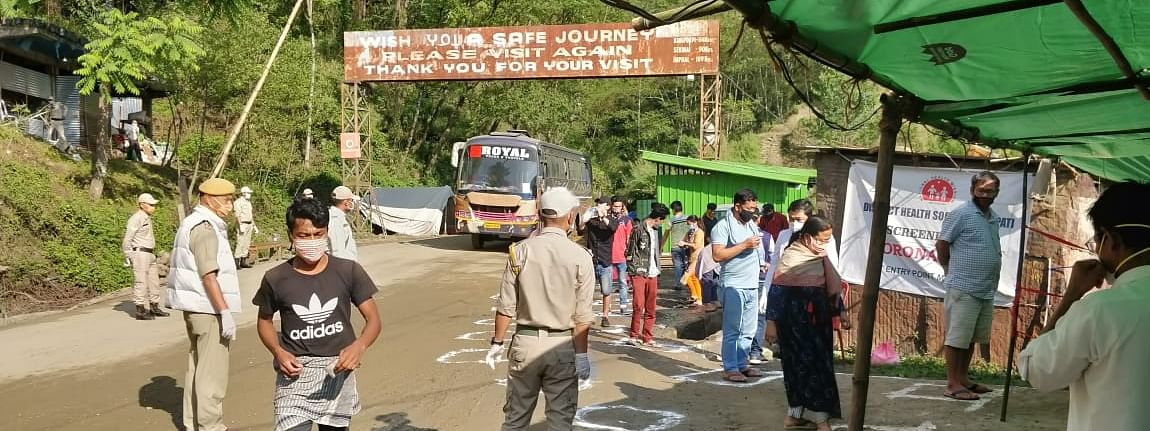 A total of 84 passengers were brought back to Imphal from Guwahati by four buses on Saturday