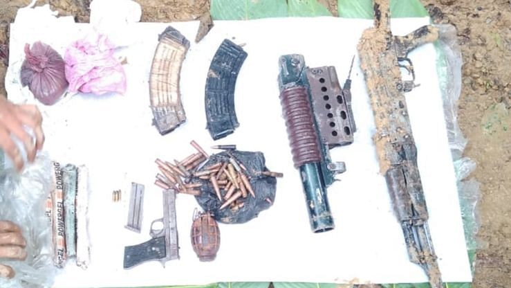 An AK-56 assault Rifle, 3 magazines, 115 rounds of 7.62 mm live ammunition, 40 mm under barrel grenade launcher, hand grenade, four stick powder-gel explosive  one .22 pistol and several other explosive materials were recovered