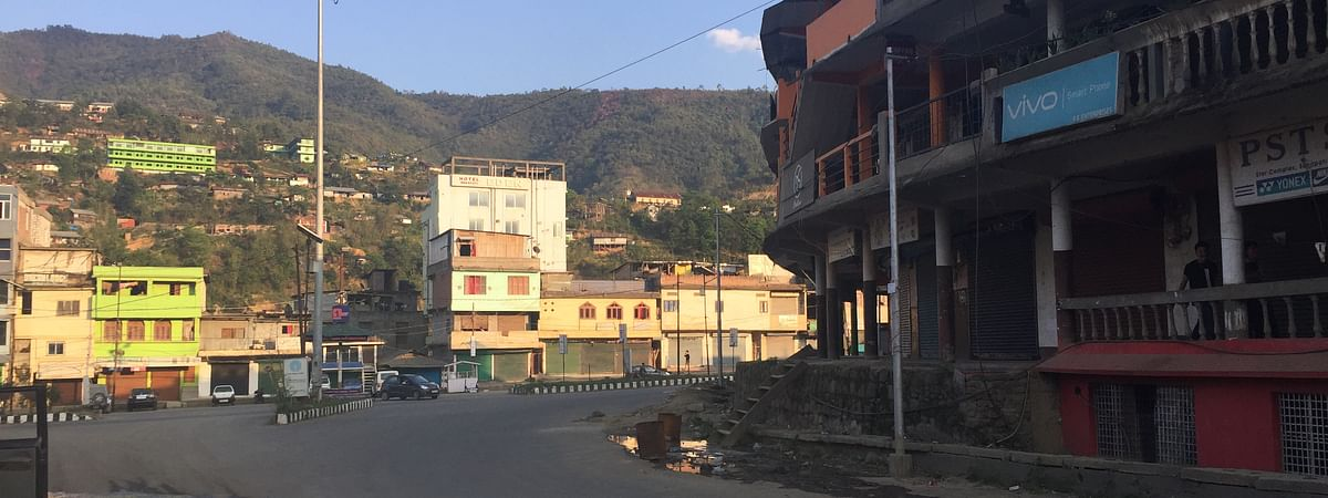 Empty street of Senapati district headquarters on Monday