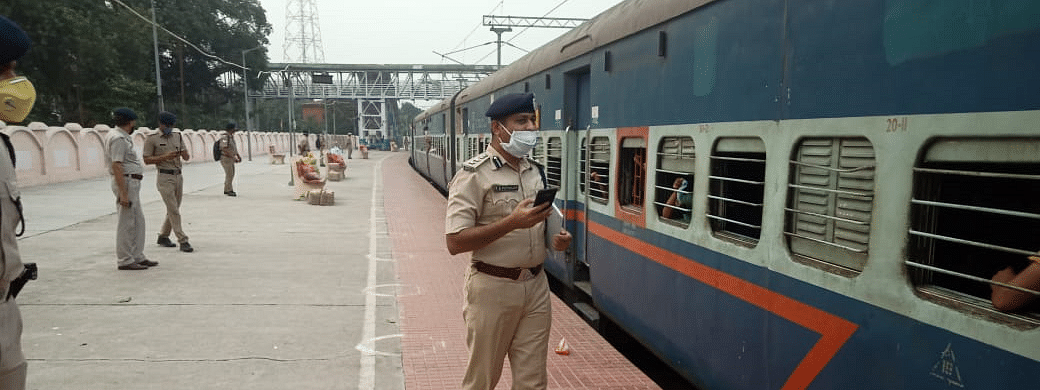 Railway forces ensuring the safe passage of the special train at Katihar in Bihar