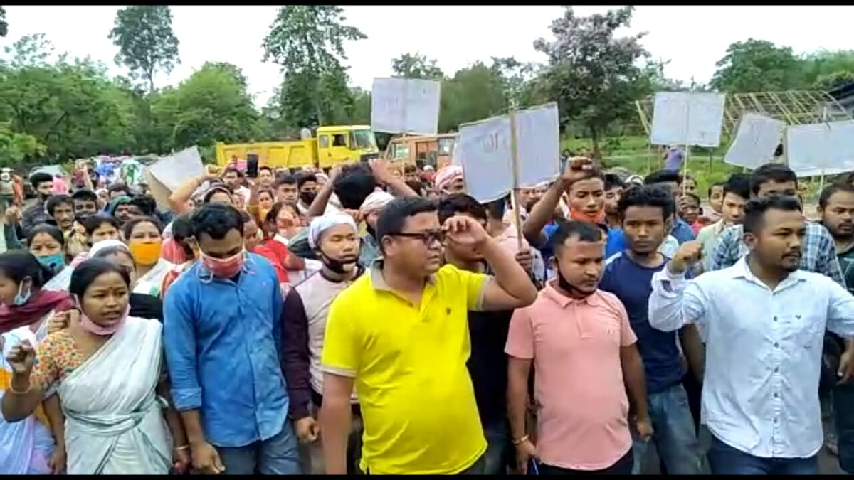 Local villagers in large numbers take out rally demanding adequate relief to the affected families