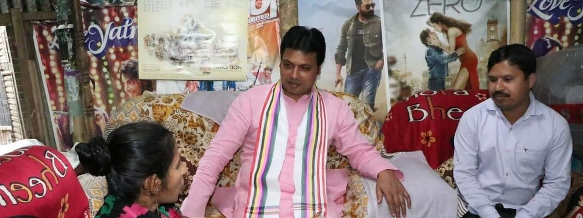 Tripura chief minister Biplab Kumar Deb interacting with a pregnant woman in Agartala during his visit in February
