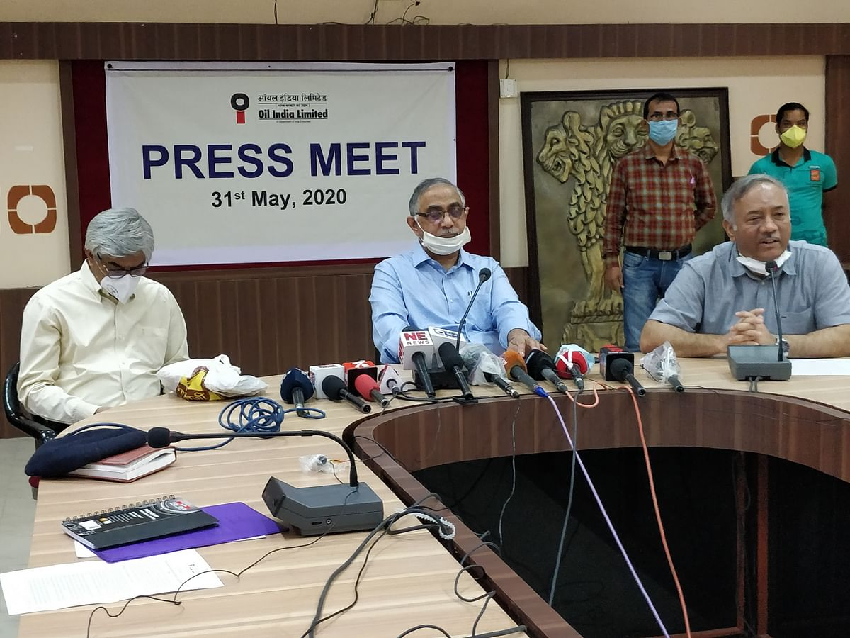 OIL top management, including CMD Sushil Chandra Mishra addressing a press conference at Tinsukia