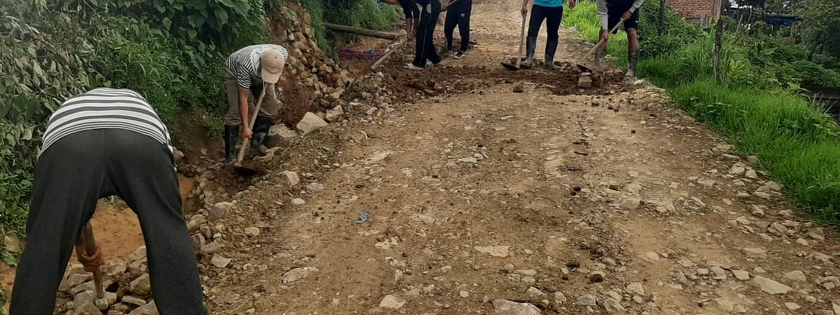 Locals at Hungpung village constructing an internal road in Manipur's Ukhrul district
