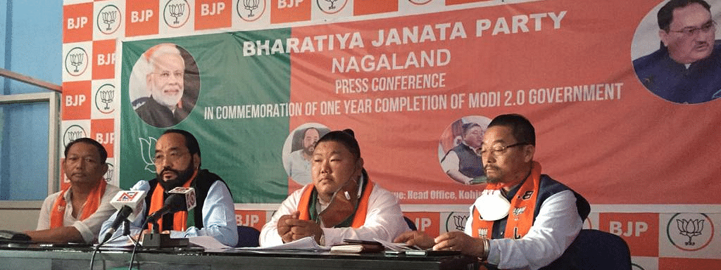 Nagaland deputy chief minister Y Patton (second from left) and State BJP president Temjen Imna Along (second from right) and others during a press conference