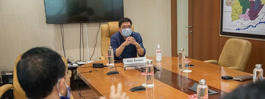 CM Pema Khandu chairing the meeting with state's textiles and handicrafts dept on Thursday