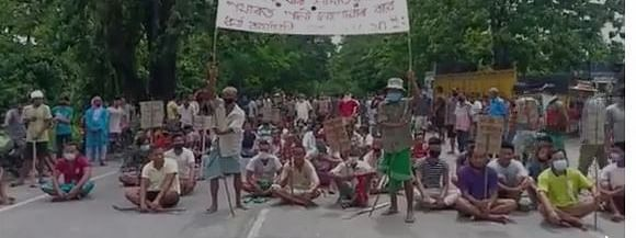 Agitated farmers blocking the highway in Assam's Baksa district on Monday