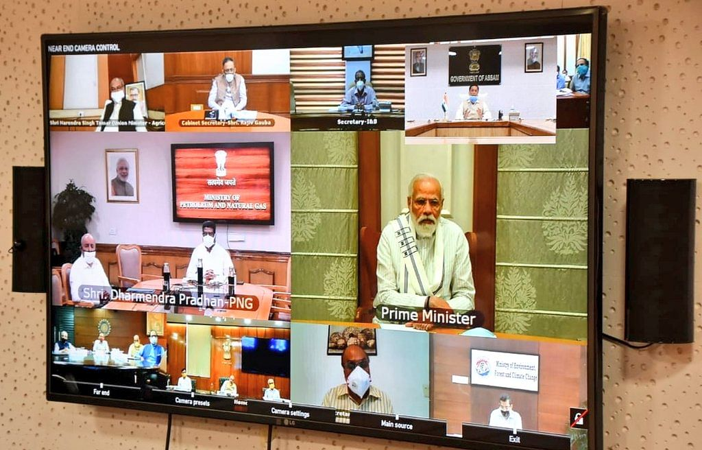 PM Modi and his team during the video conference in New Delhi