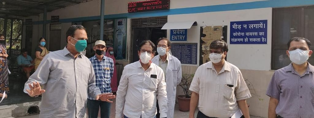 Minister Jain (left) during his recent visit to GTB Hospital to review preparedness for Covid treatment in Delhi.