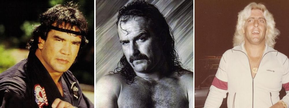 "Ricky ""The Dragon"" Steamboat (left), Jake ""The Snake"" Roberts (center), Ric Flair (right)"