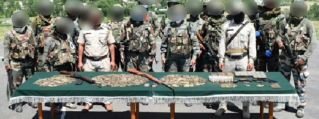 Huge cache of weapons seized from near Karongthel in Tengnoupal district on June 10