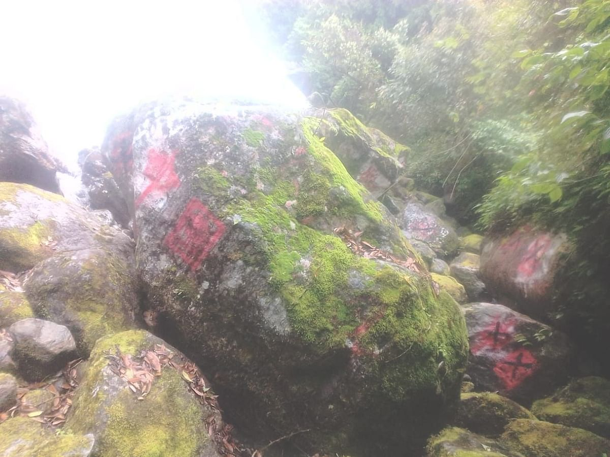 Chinese army writes on rocks and trees when inside Indian territory. This was found last year by a villager near Hadira Pass