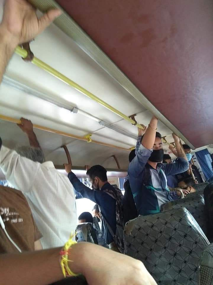 Images inside a city bus with total disregard to physical distancing norms