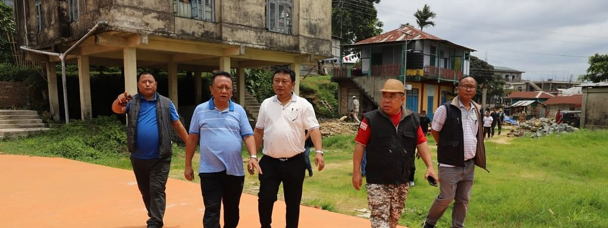 Mizoram sports minister Robert Romawia Royte along with other officials inspecting the ongoing construction SAI sports academy at Kolasib