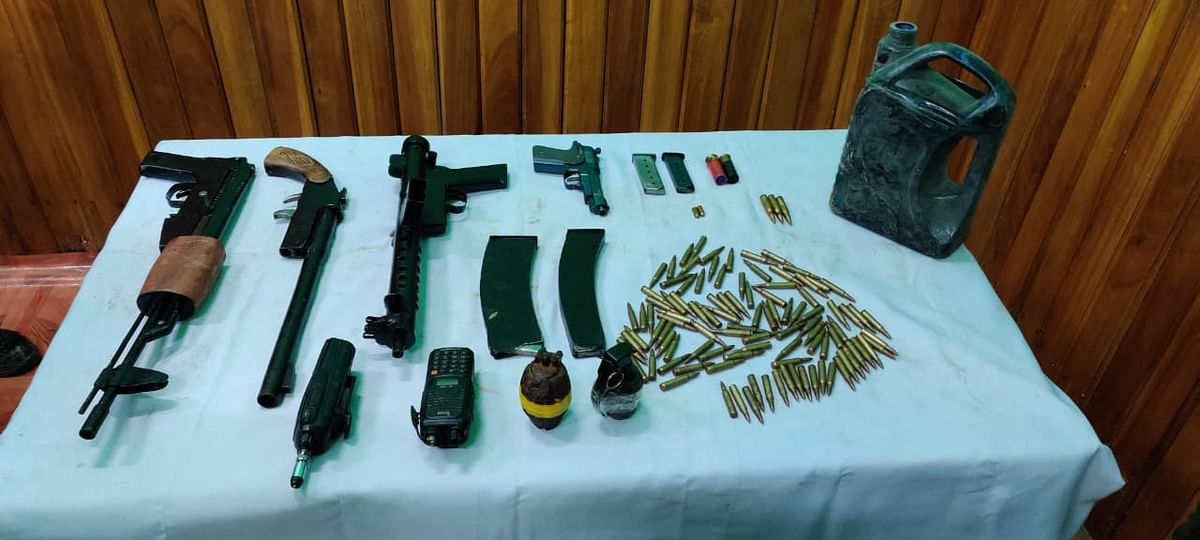 Huge cache of arms and ammunition were recovered near Naurom of Nambol in Bishnupur on June 14
