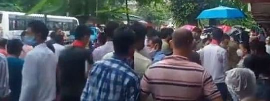 A large number of people staged protest at Noonmati area in Guwahati following the youth's killing