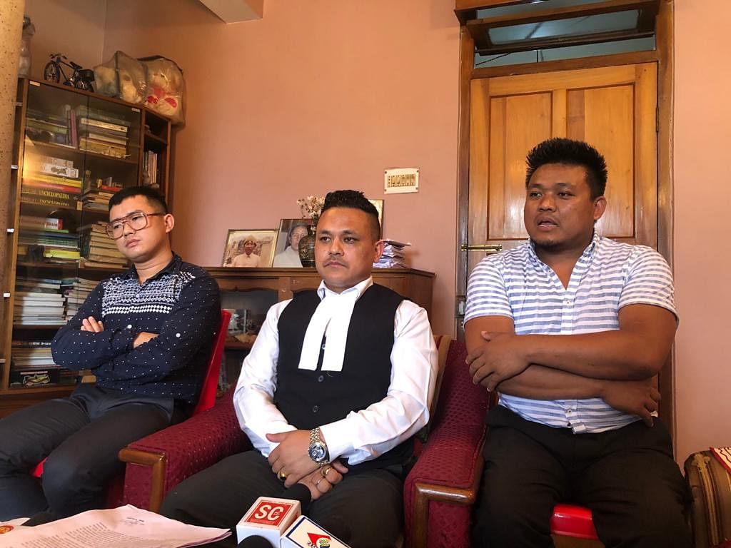 (Left to right) Arun Limboo, advocate Nawin Kiran Pradhan and Prakash Gurung during a press meet on Tuesday