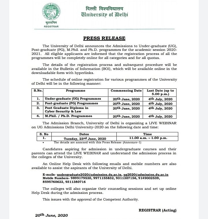 The details of the admission process