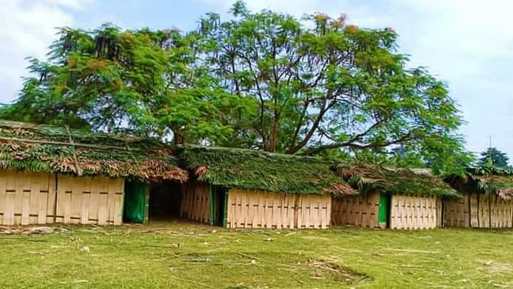 The villagers have managed to set up huts made up of bamboo and locally available materials with all the basic facilities including electricity and running water for the returnees