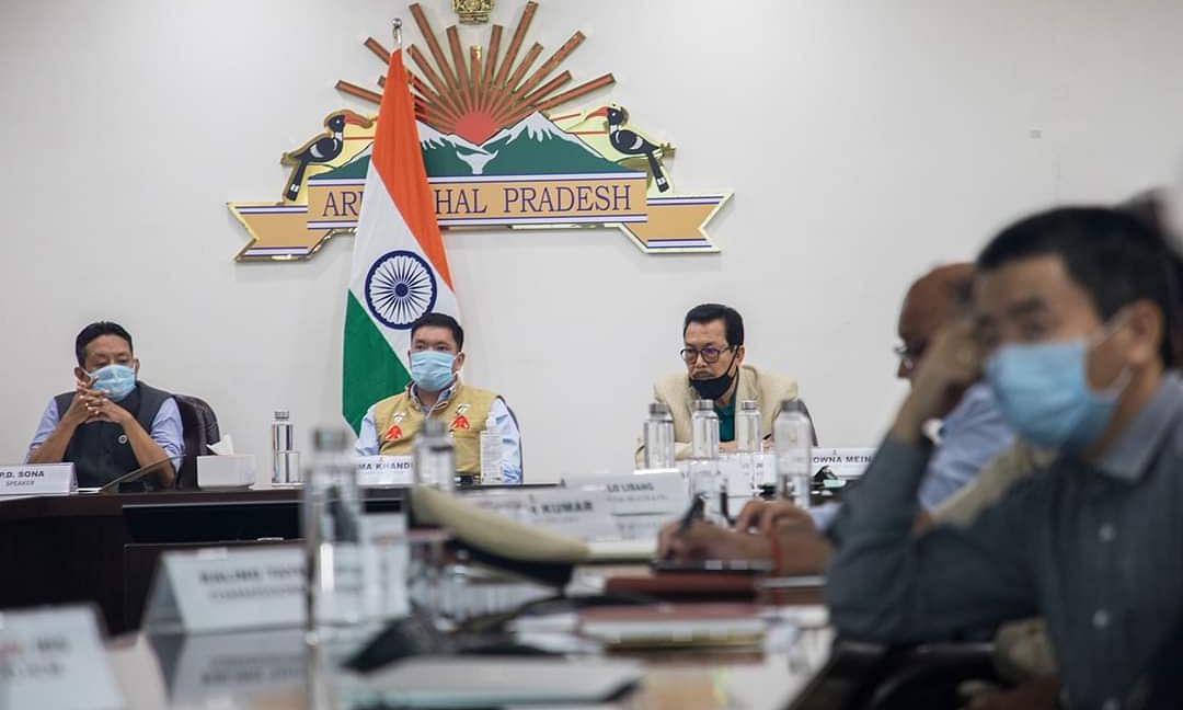 Arunachal Pradesh Chief Minister Pema Khandu during a meeting on Thursday