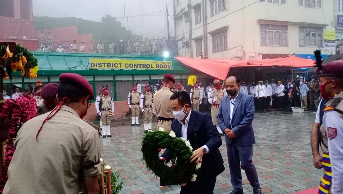 Laying of a wreath on the memorial of the 20 martyrs was also done by the governor and CM of Sikkim