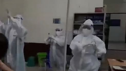 In the video, doctors and others are seen dancing to the tune of 'We shall overcome' to motivate patients in a Guwahati-based hospital