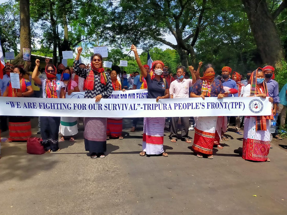 Tripura party holds stir, demands Pradyot as TTAADC administrator