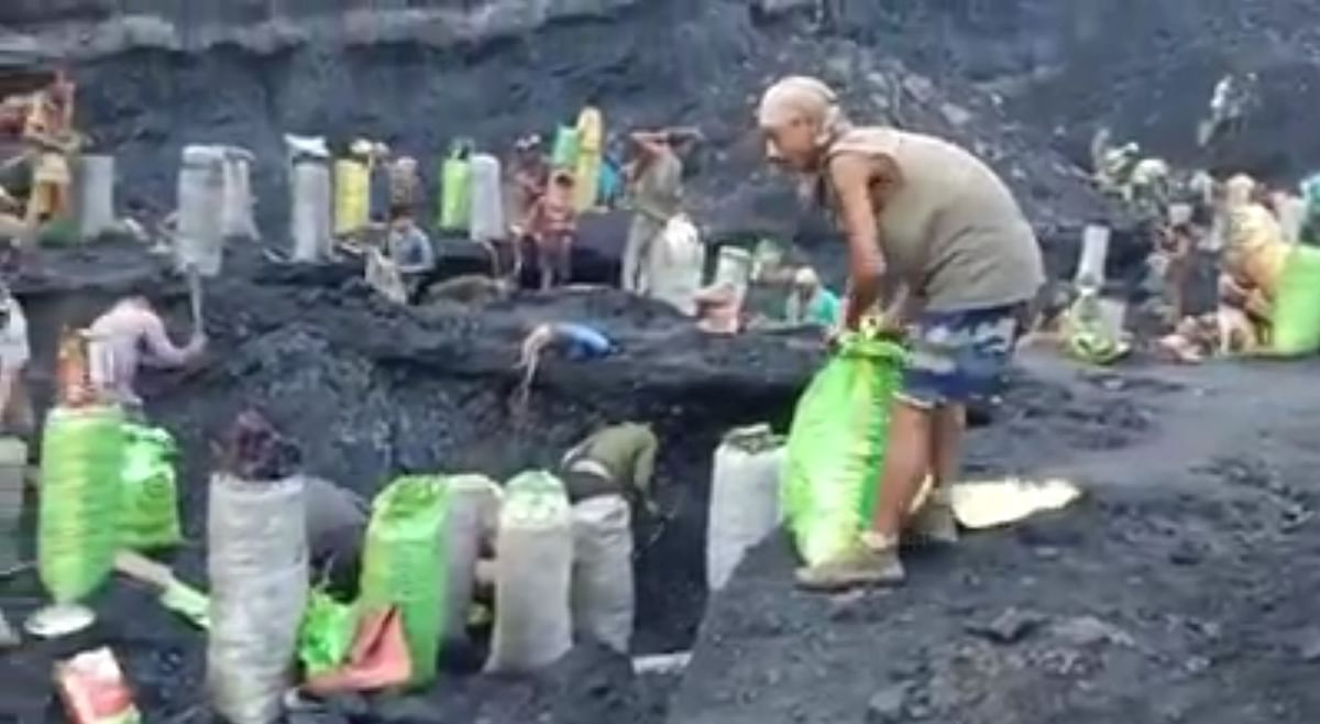 A still from Tikak Colliery with workers engaged in alleged illegal mining