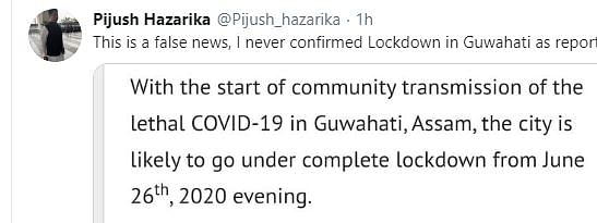 Assam minister Pijush Hazarika took to Twitter to clarify his stand on a 'false news' about lockdown in Guwahati