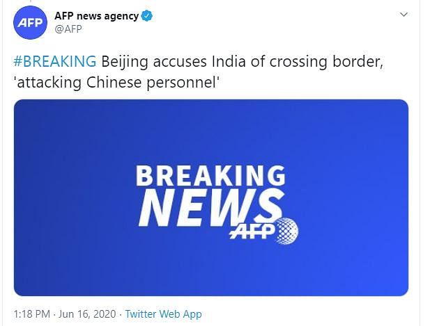 News agency AFP in its Twitter