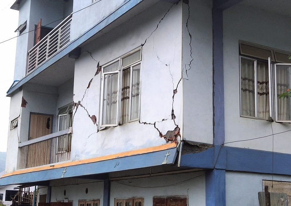 Cracks appear in a building in Mizoram after a 5.3-magnitude earthquake hit the state on Monday morning