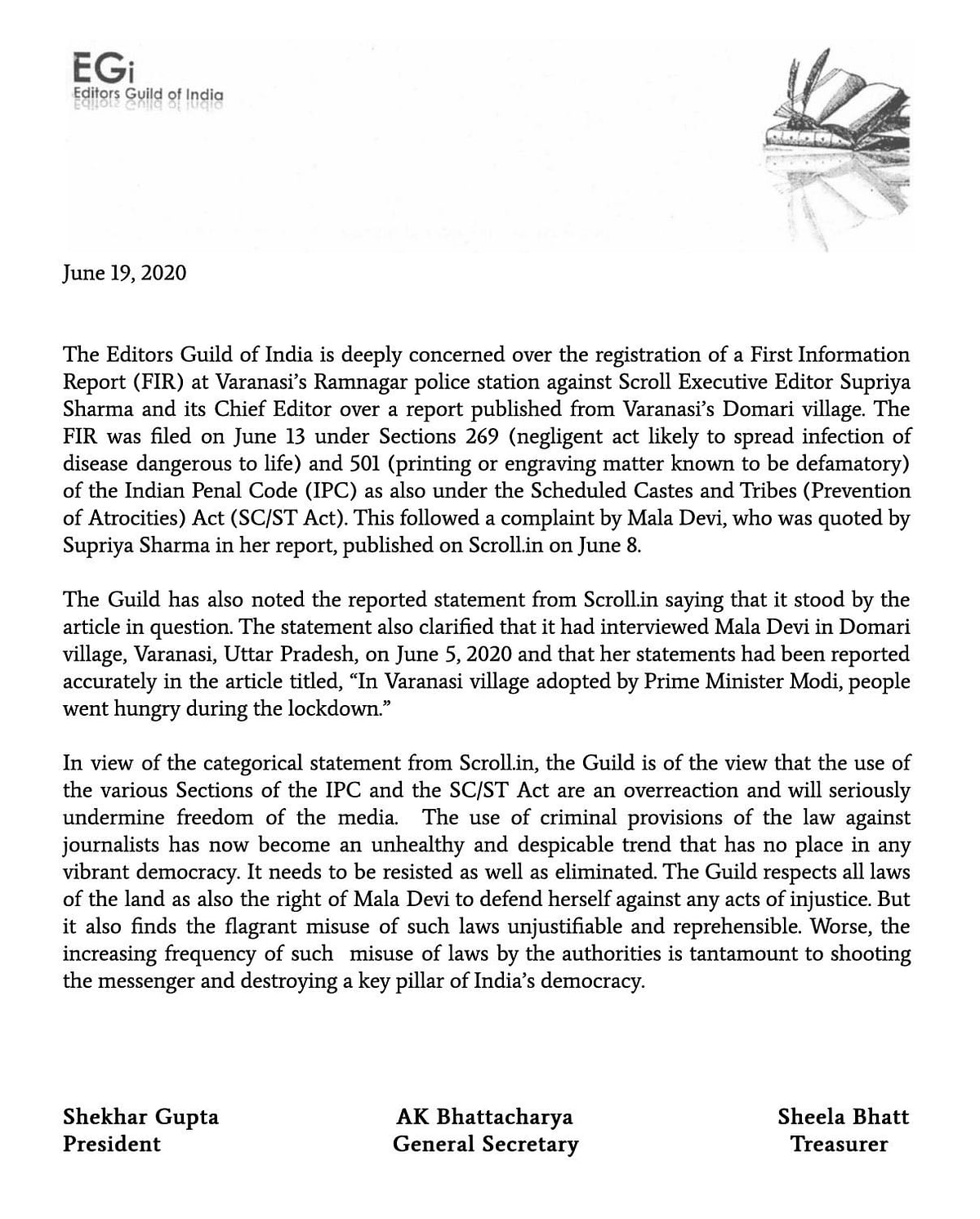 Statement by Editors Guild of India