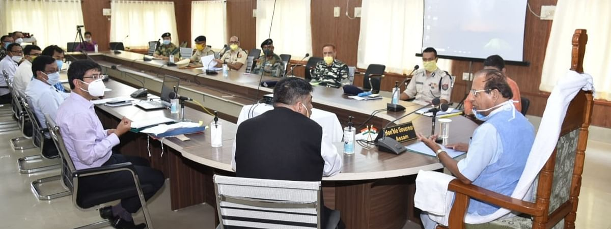 Assam governor Jagdish Mukhi participating in a meeting