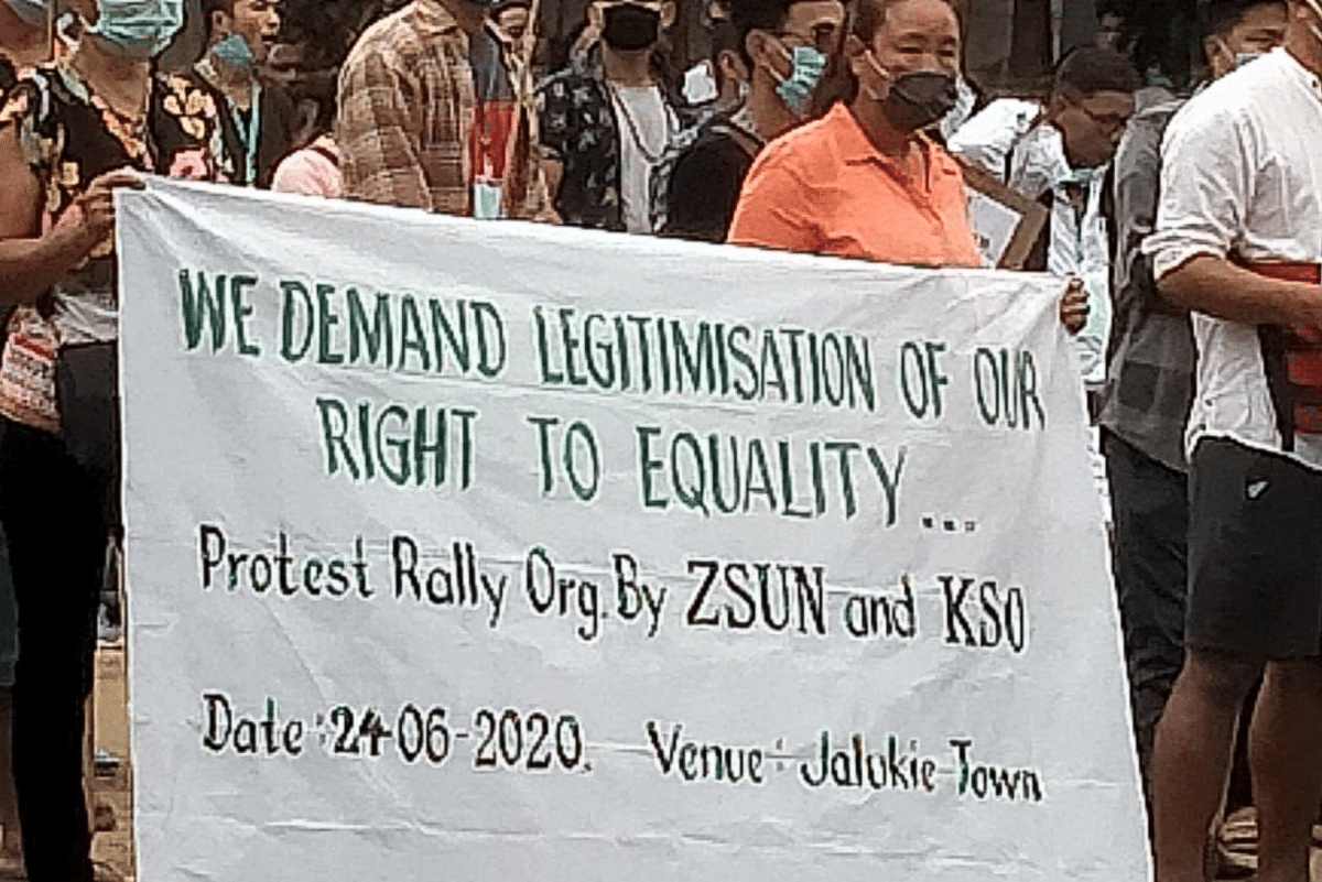 The protest was organised by the ZSUN and KSO at Jalukie town