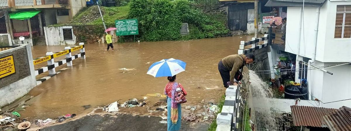 Heavy rainfall caused waterlogging in Laban locality in Shillong