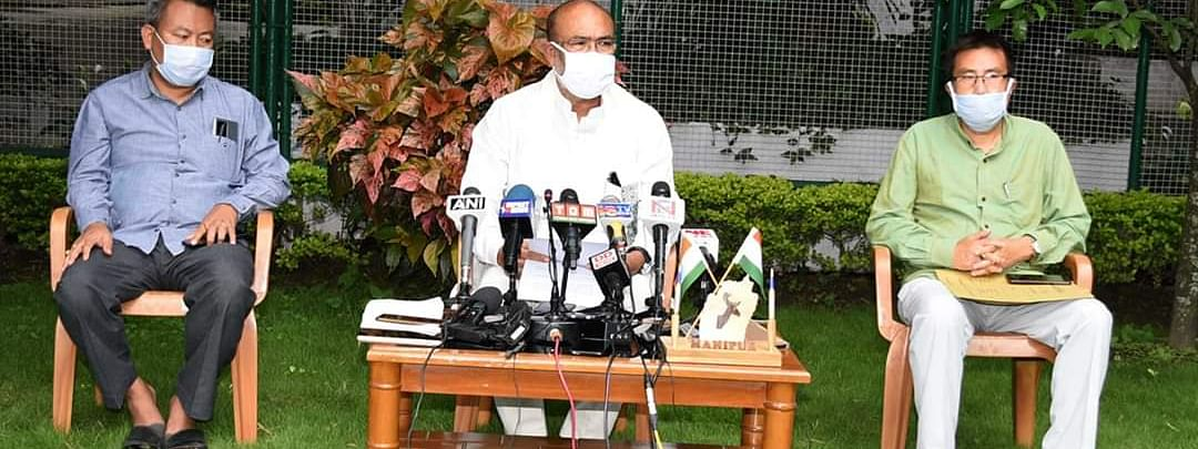 Manipur chief minister N Biren Singh at a press briefing on Sunday