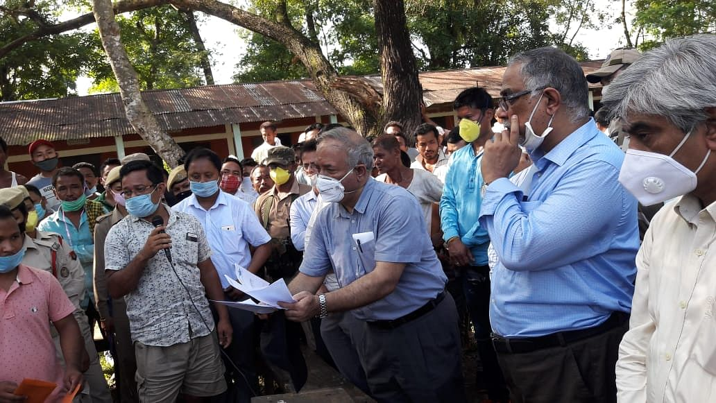 OIL CMD Sushil Chandra Mishra accepting a memorandum from local people during his visit to one of the relief camps