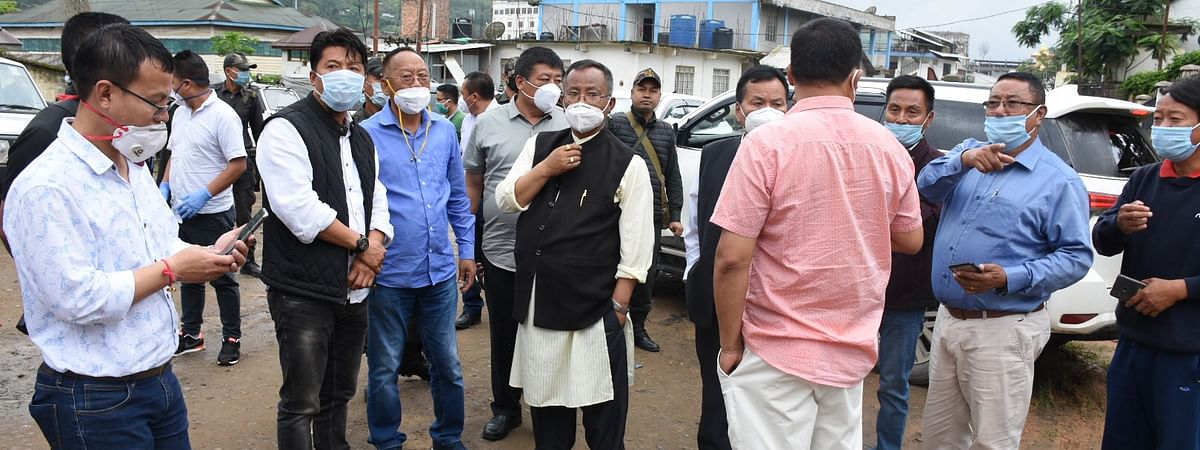Health minister L Jayantakumar visiting quarantine centres in Senapati on Saturday