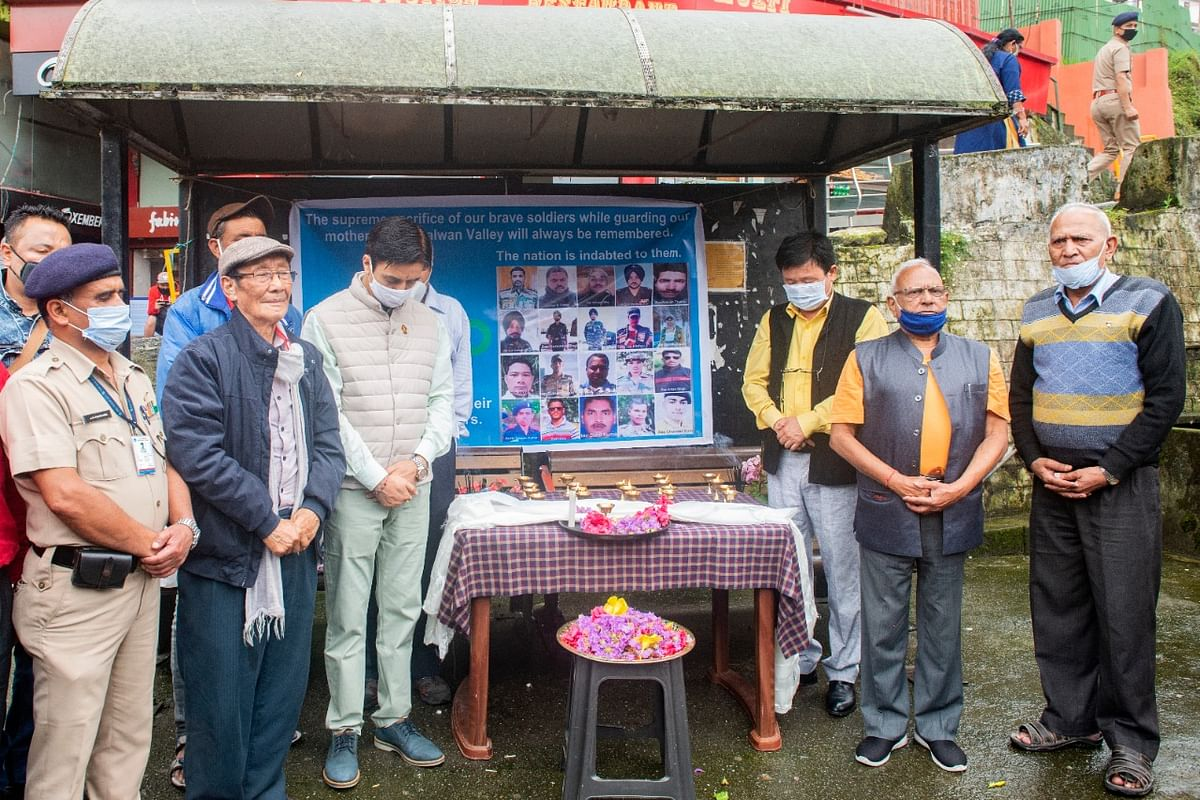 Governor Ganga Prasad, urban development minister Arun Upreti and Gangtok's BJP MLA YT Lepcha took part in a meeting organised to pay tributes of jawans martyred in Ladakh