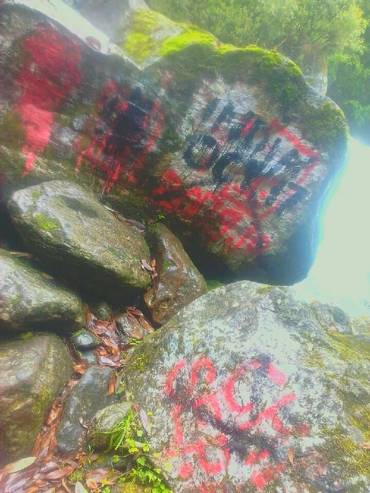 Chinese army's writings on rocks on the Indian side of the border