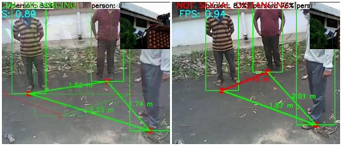 Frame 1 (left) depicts the social distancing being obeyed as the distance between the individuals is above the safe criterion, while negative is the case in Frame 2 (right) where the individuals stand at a distance less than the safe criterion (set in the algorithm), hence generating an alert signal.